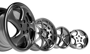 steel alloy car rims over the white background